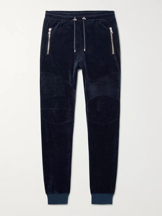 Balmain Slim-Fit Tapered Cotton-Blend Velvet Biker Sweatpants