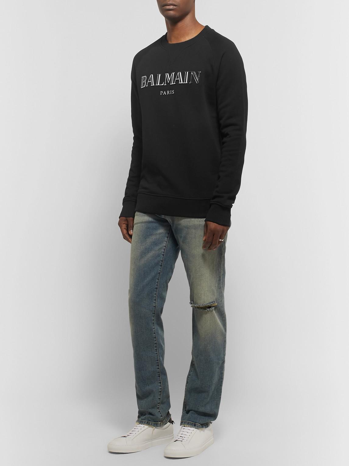 Balmain T-shirts METALLIC LOGO-PRINT LOOPBACK COTTON-JERSEY SWEATSHIRT