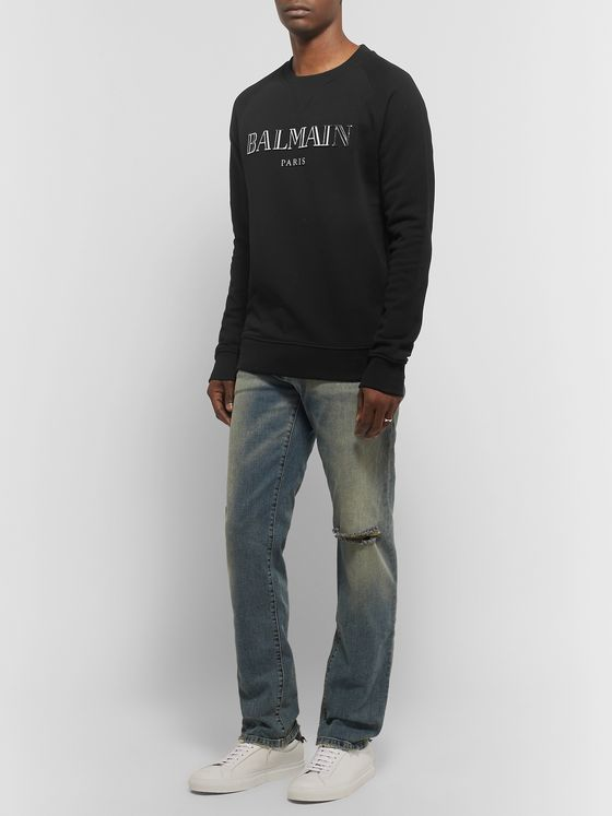 Balmain Metallic Logo-Print Loopback Cotton-Jersey Sweatshirt