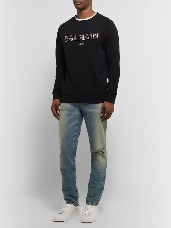 Balmain Tapered Distressed Denim Jeans
