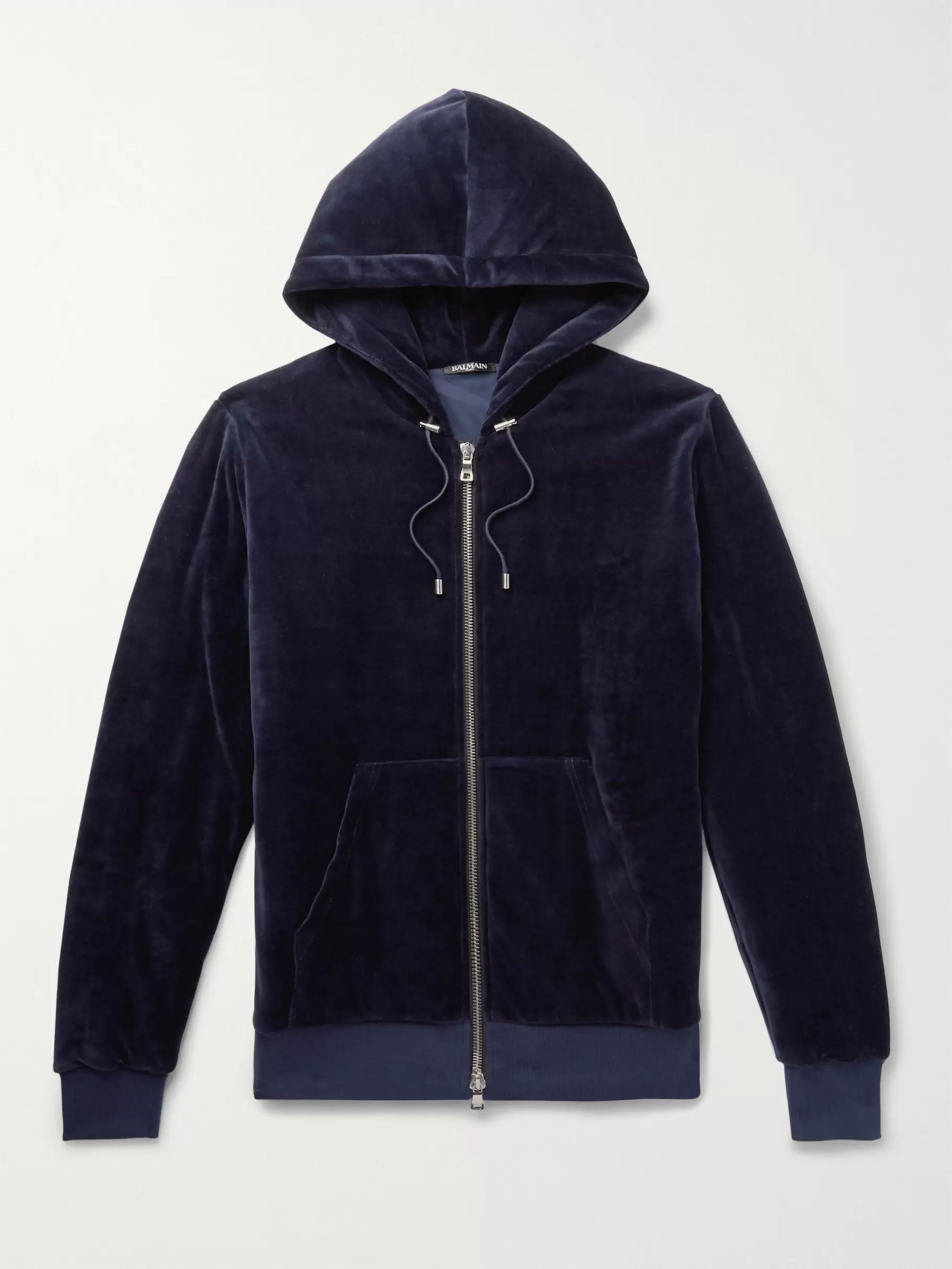 Balmain Cotton-Blend Velvet Zip-Up Hoodie