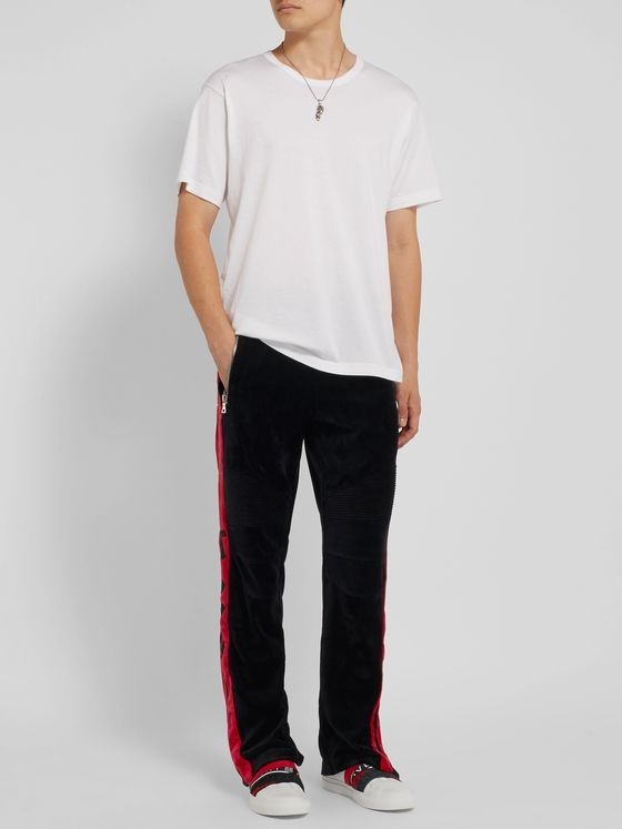 Balmain Striped Cotton-Blend Velvet Biker Sweatpants