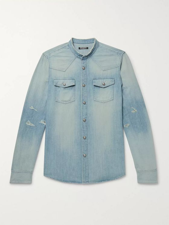 Balmain Slim-Fit Grandad-Collar Logo-Embroidered Distressed Denim Shirt