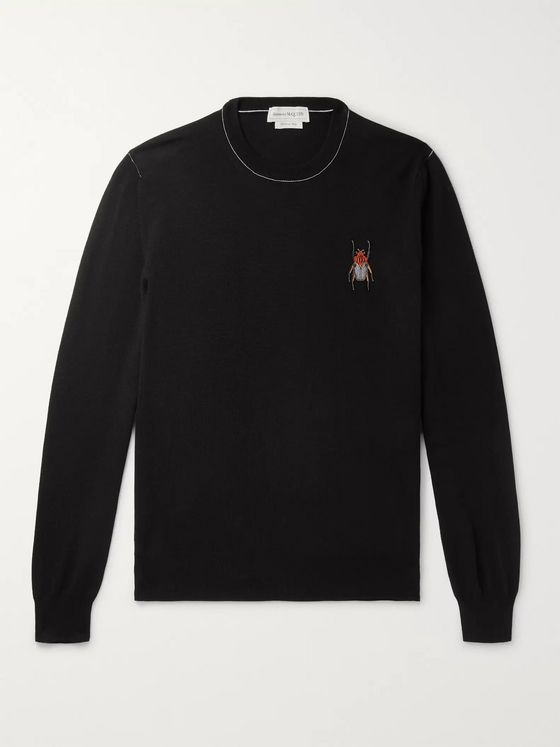 Alexander McQueen Embroidered Wool Sweater