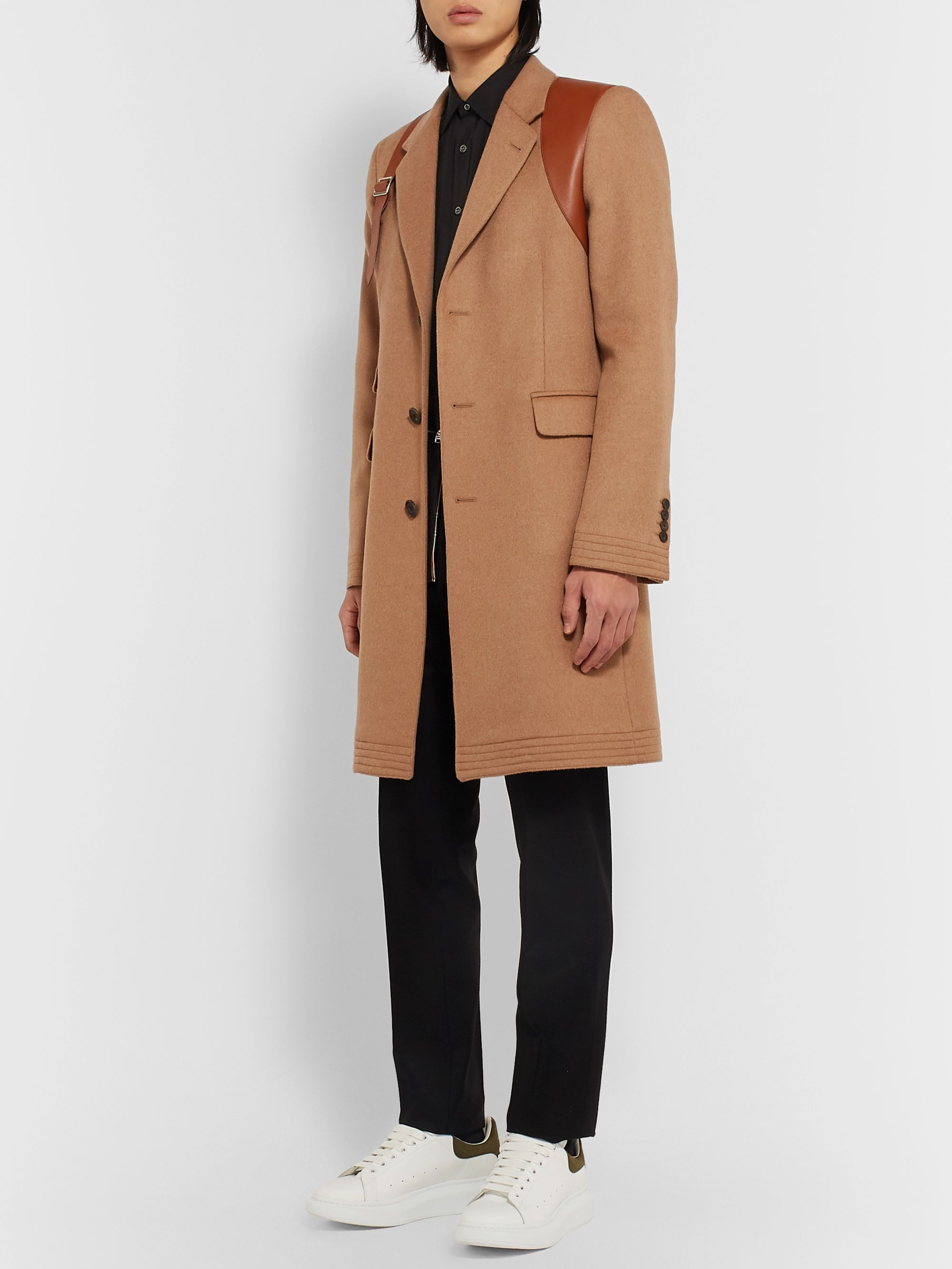 Alexander McQueen Leather Harness-Detailed Camel Hair Coat