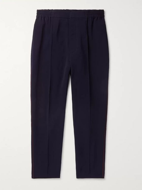 Alexander McQueen Tapered Piped Crepe Trousers