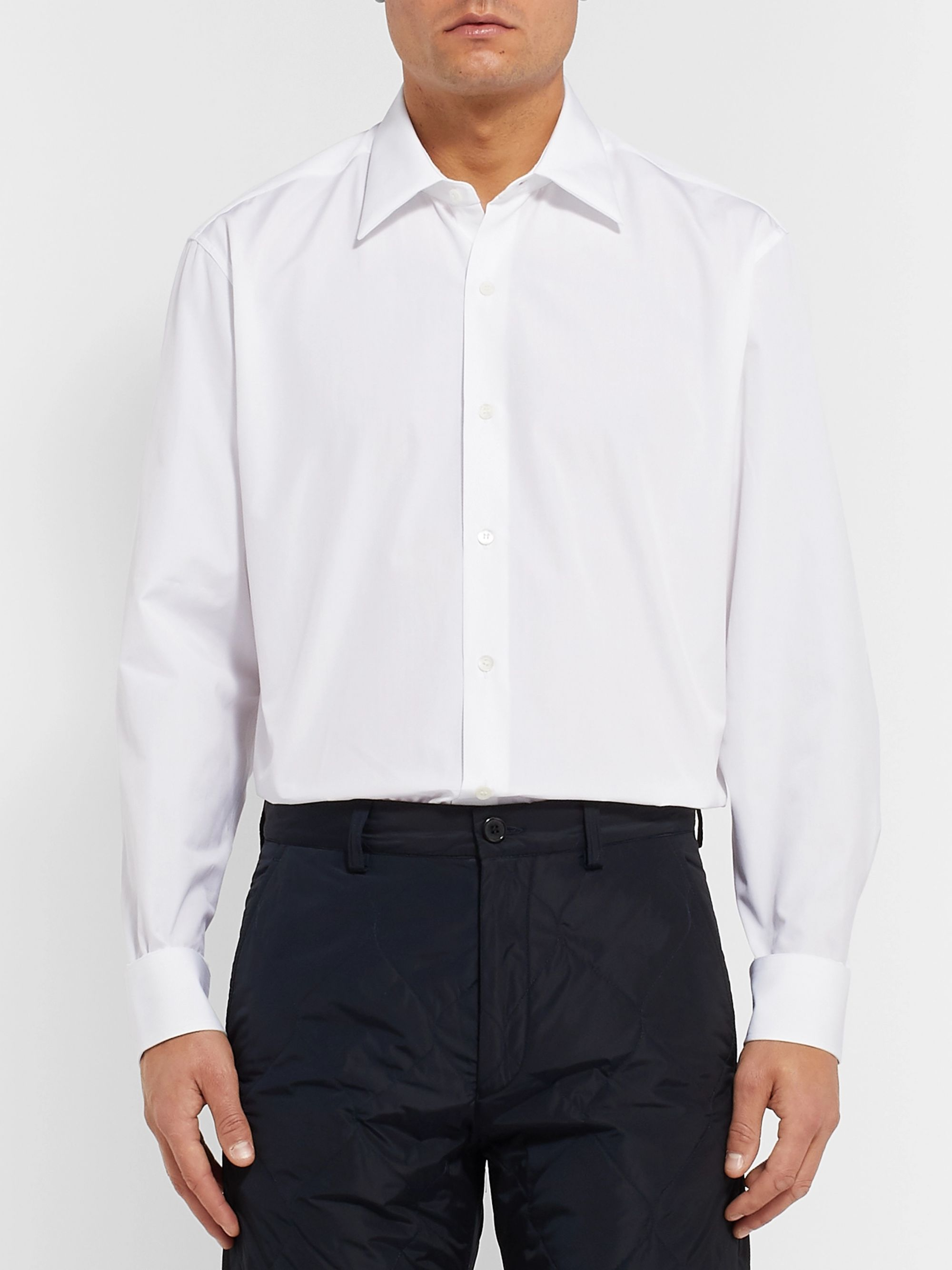 Dries Van Noten White Cleaver Cotton-Poplin Shirt