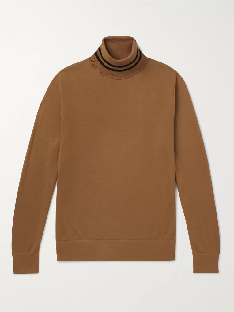 Dries Van Noten Striped Merino Wool Rollneck Sweater
