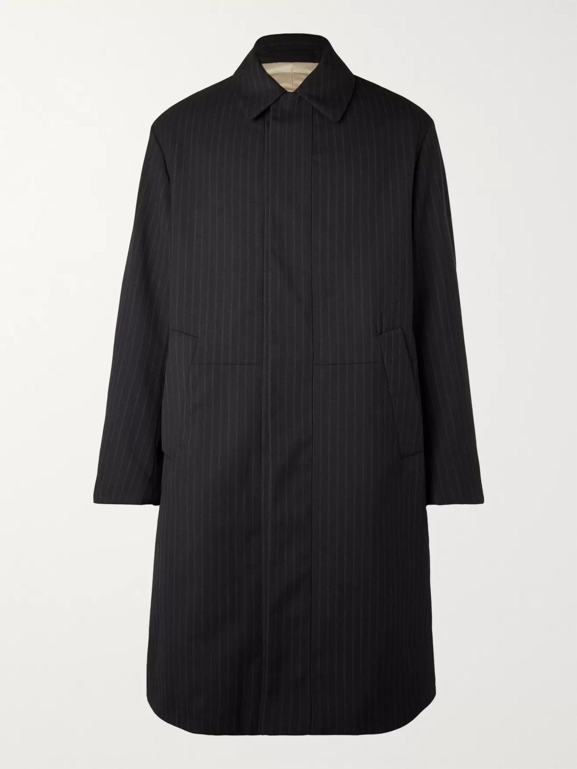 Padded Pinstriped Woven Coat by Dries Van Noten