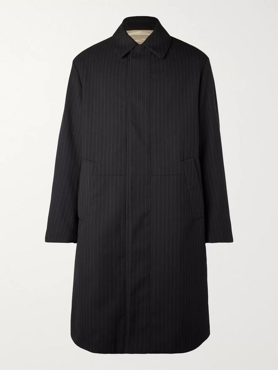 Dries Van Noten Padded Pinstriped Woven Coat