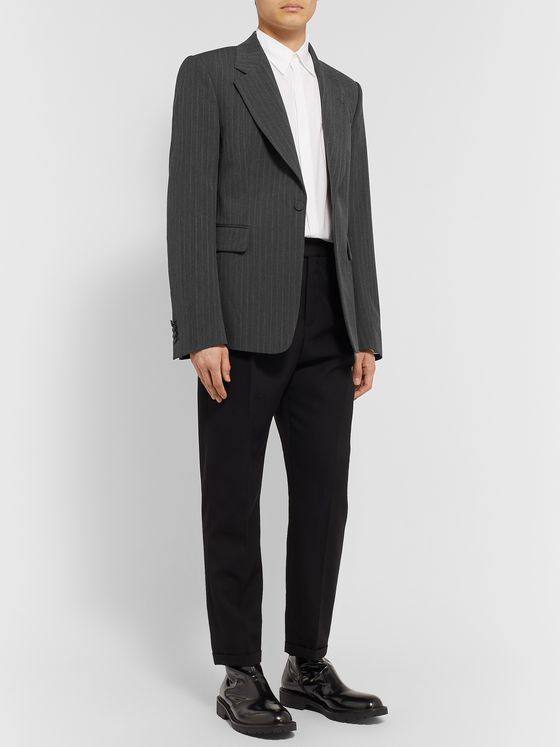 Dries Van Noten Anthracite Pinstriped Woven Blazer