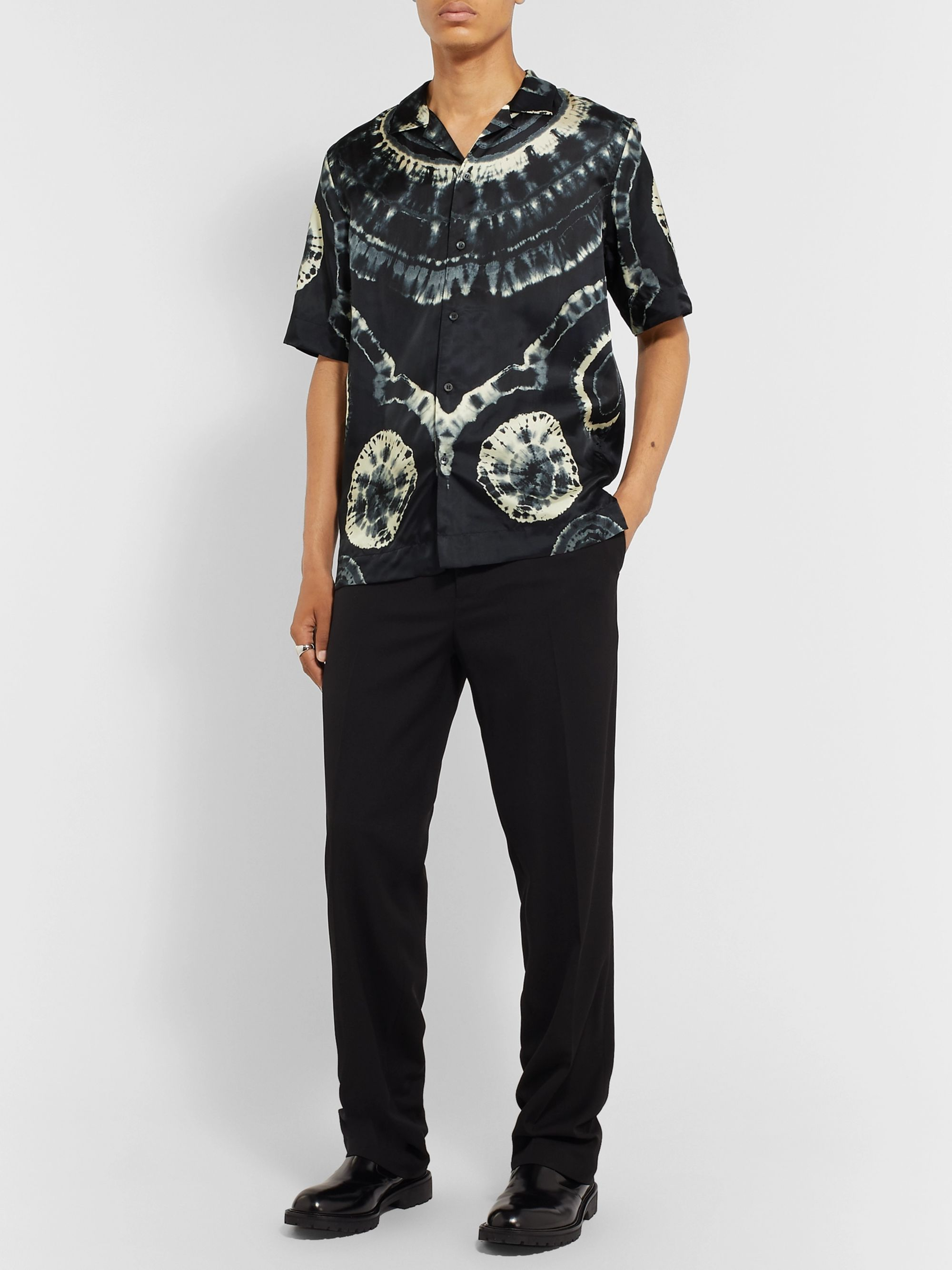 Dries Van Noten Camp-Collar Tie-Dyed Satin-Twill Shirt