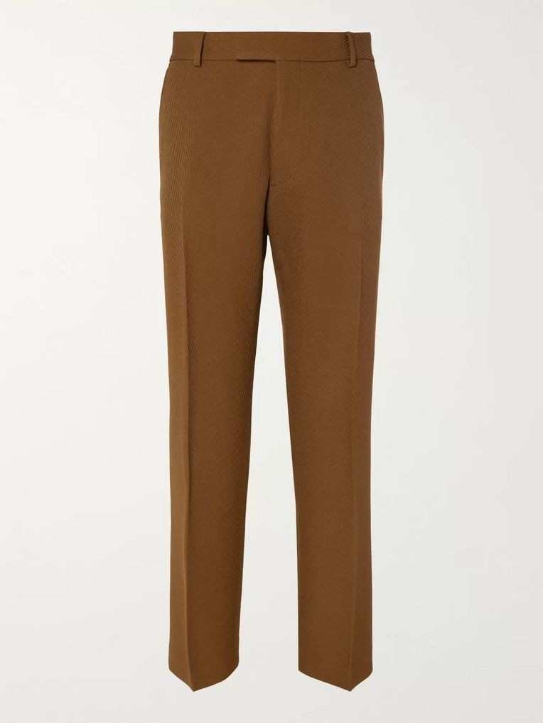 Dries Van Noten Light-Brown Pennel Textured-Wool Suit Trousers