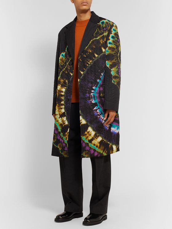 Dries Van Noten Oversized Quilted Tie-Dyed Shell Coat