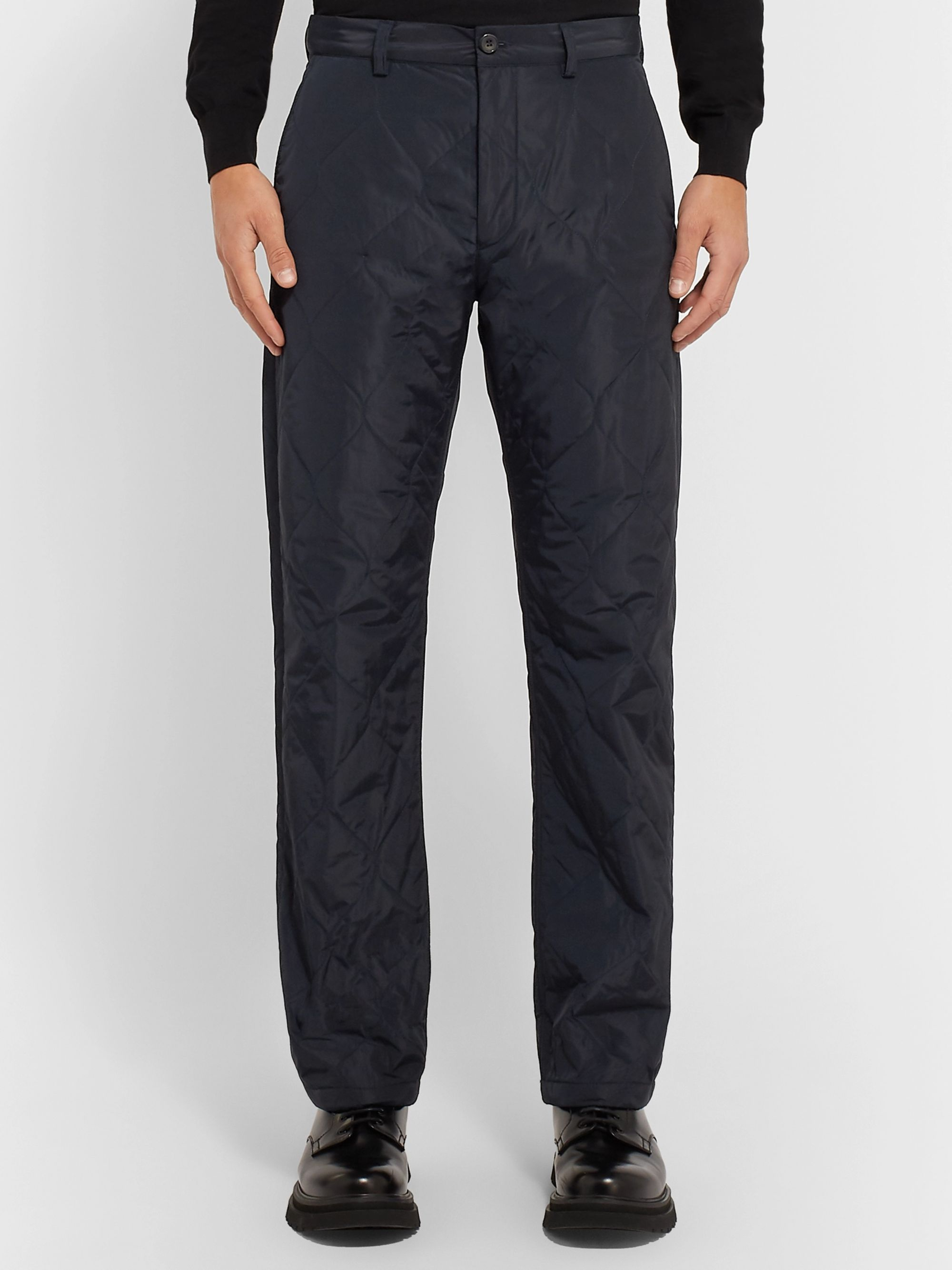 Dries Van Noten Navy Slim-Fit Quilted Tech-Shell Trousers
