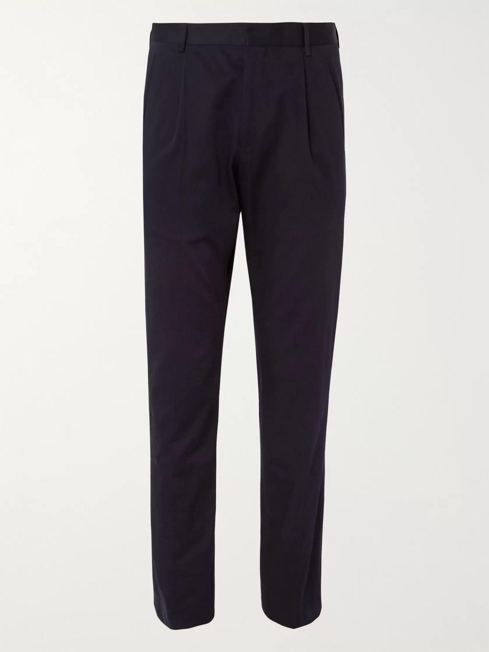 Dries Van Noten Navy Philmore Tapered Pleated Cotton-Twill Trousers