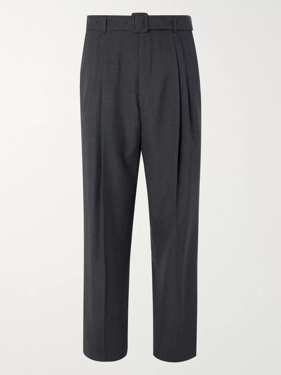 Dries Van Noten Anthracite Tapered Belted Pleated Mélange Wool Trousers