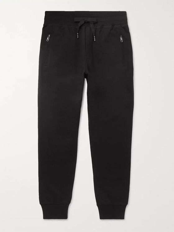 Dolce & Gabbana Slim-Fit Tapered Logo-Appliquéd Cotton-Jersey Sweatpants