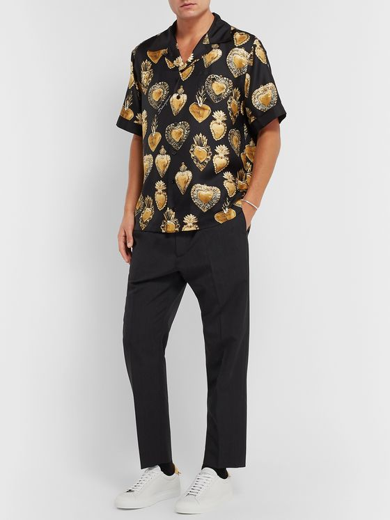 Dolce & Gabbana Printed Camp-Collar Silk-Twill Shirt