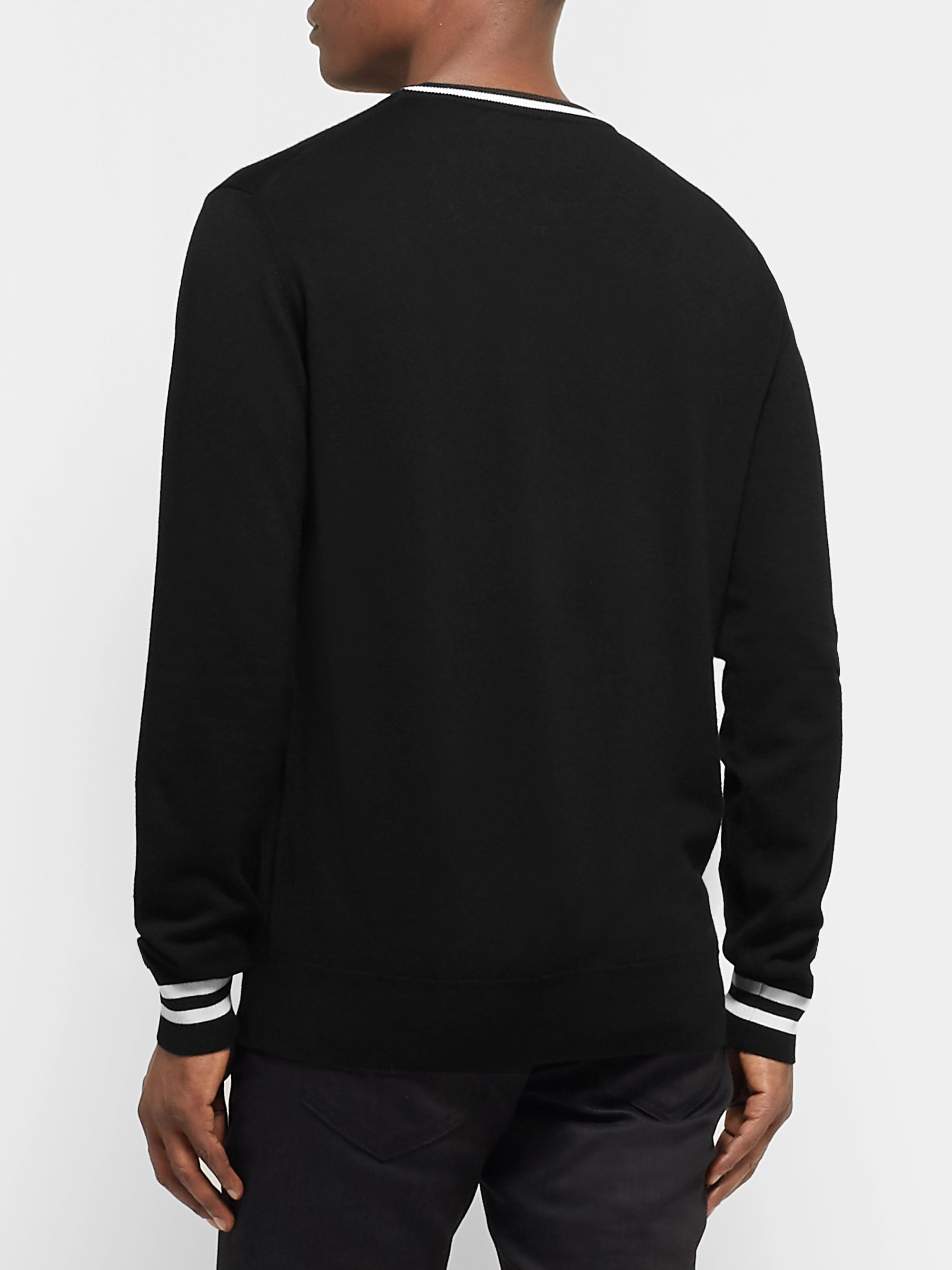 Dolce & Gabbana Slim-Fit Contrast-Tipped Logo-Embroidered Virgin Wool Sweater