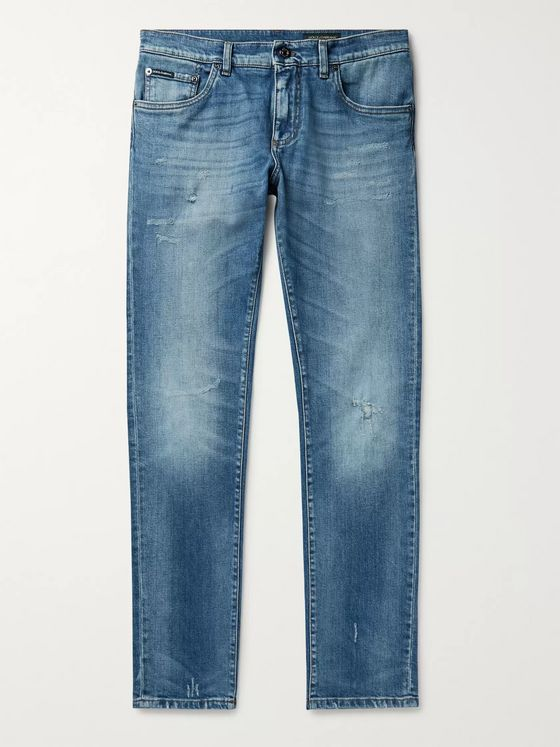 Dolce & Gabbana Skinny-Fit Distressed Denim Jeans