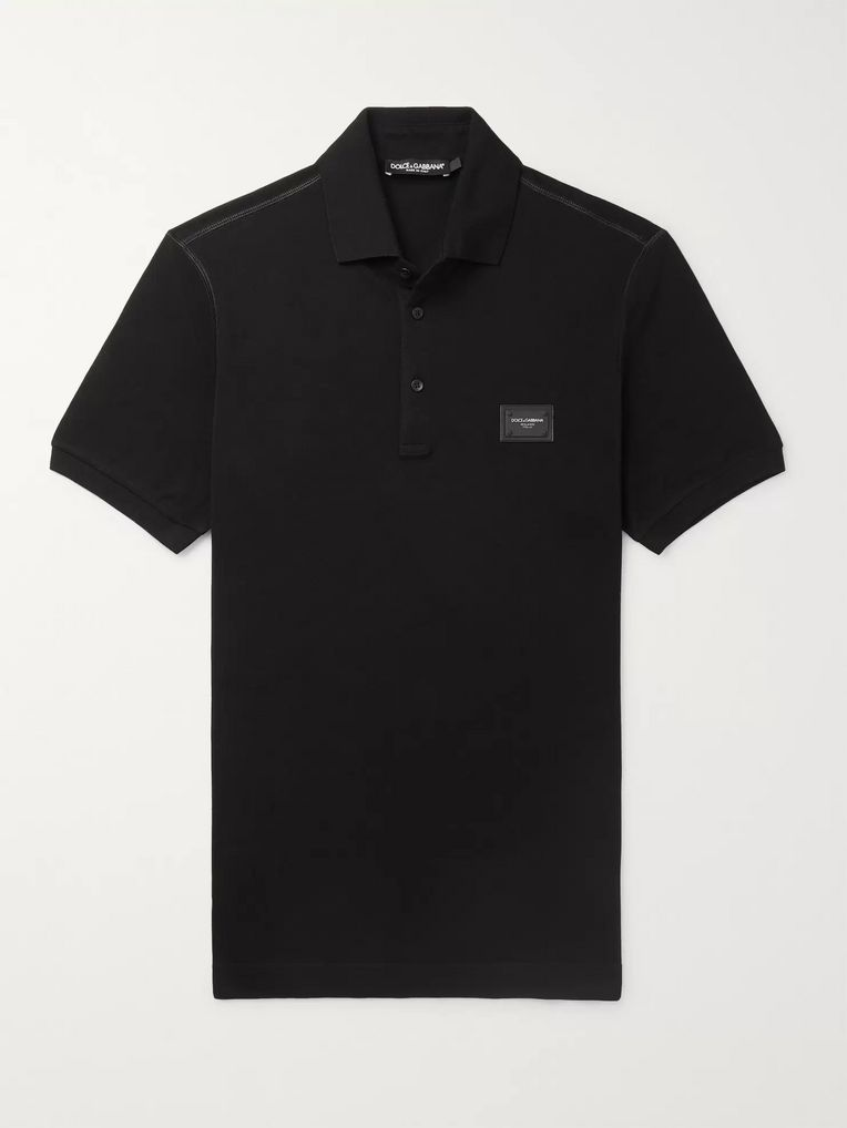 Dolce & Gabbana Slim-Fit Logo-Appliquéd Cotton-Piqué Polo Shirt