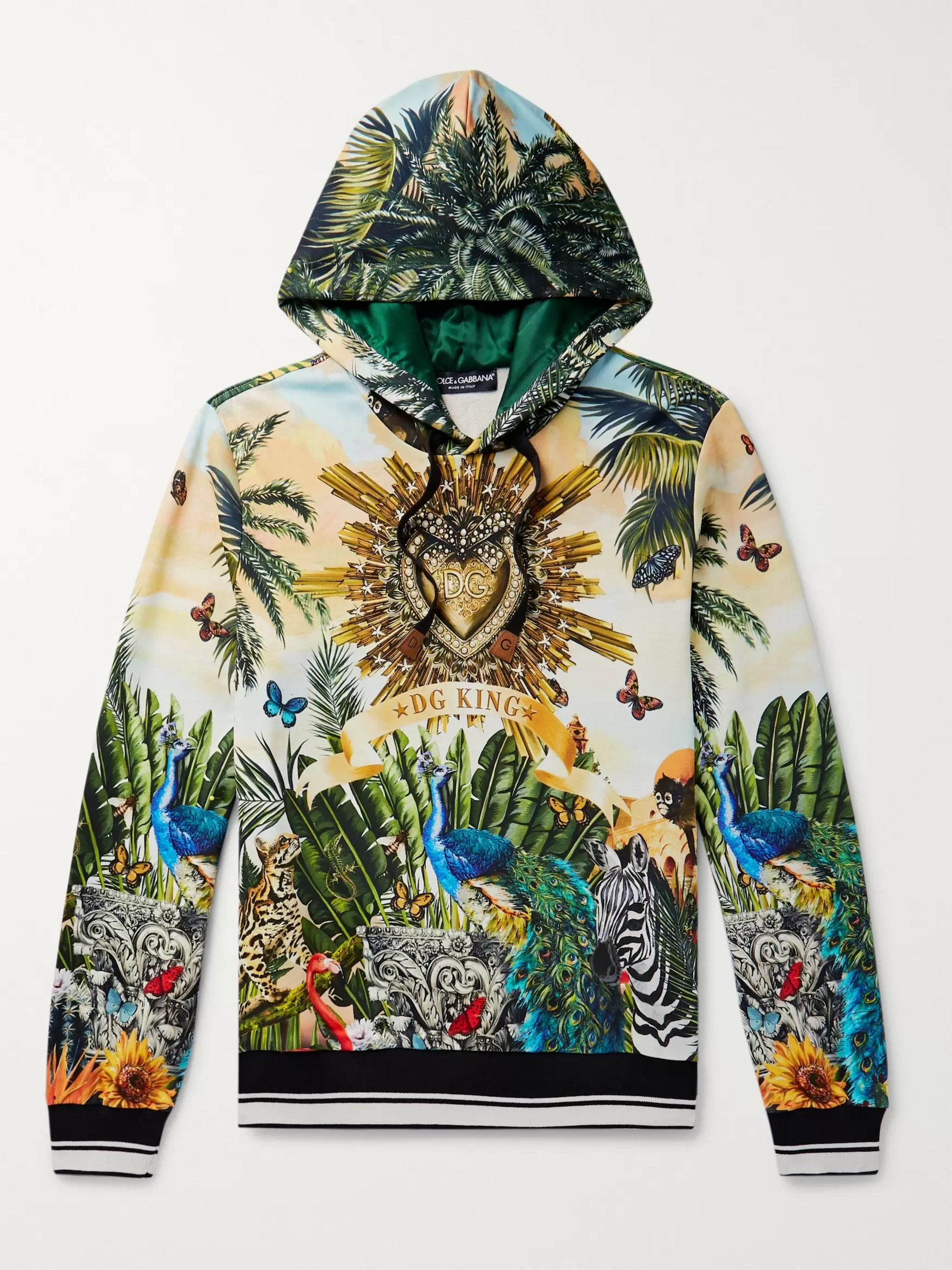 Dolce & Gabbana Printed Loopback Cotton-Jersey Hoodie