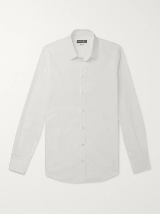 Dolce & Gabbana Slim-Fit Logo-Jacquard Cotton-Poplin Shirt