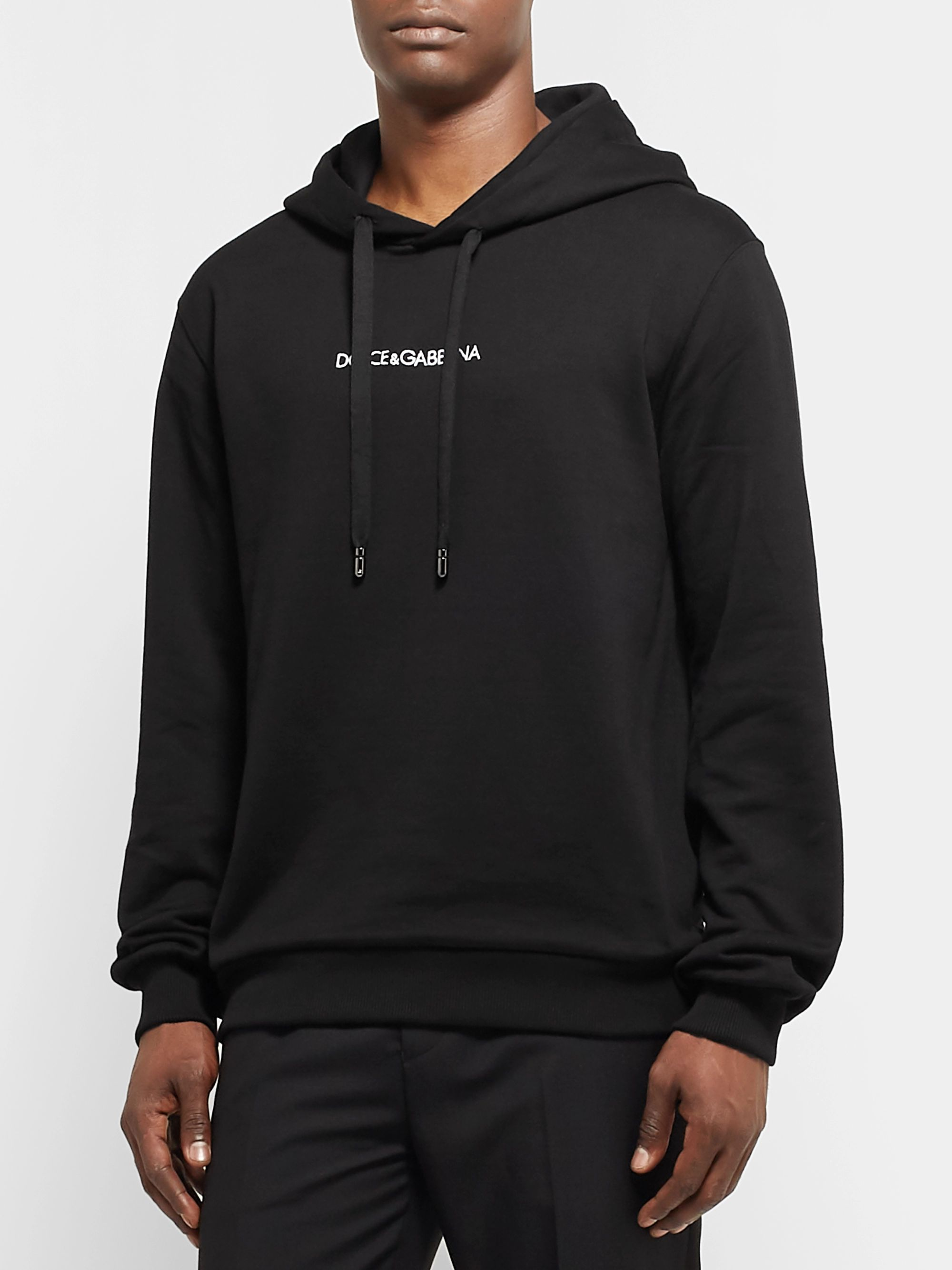 Dolce & Gabbana Logo-Embroidered Loopback Cotton-Jersey Hoodie