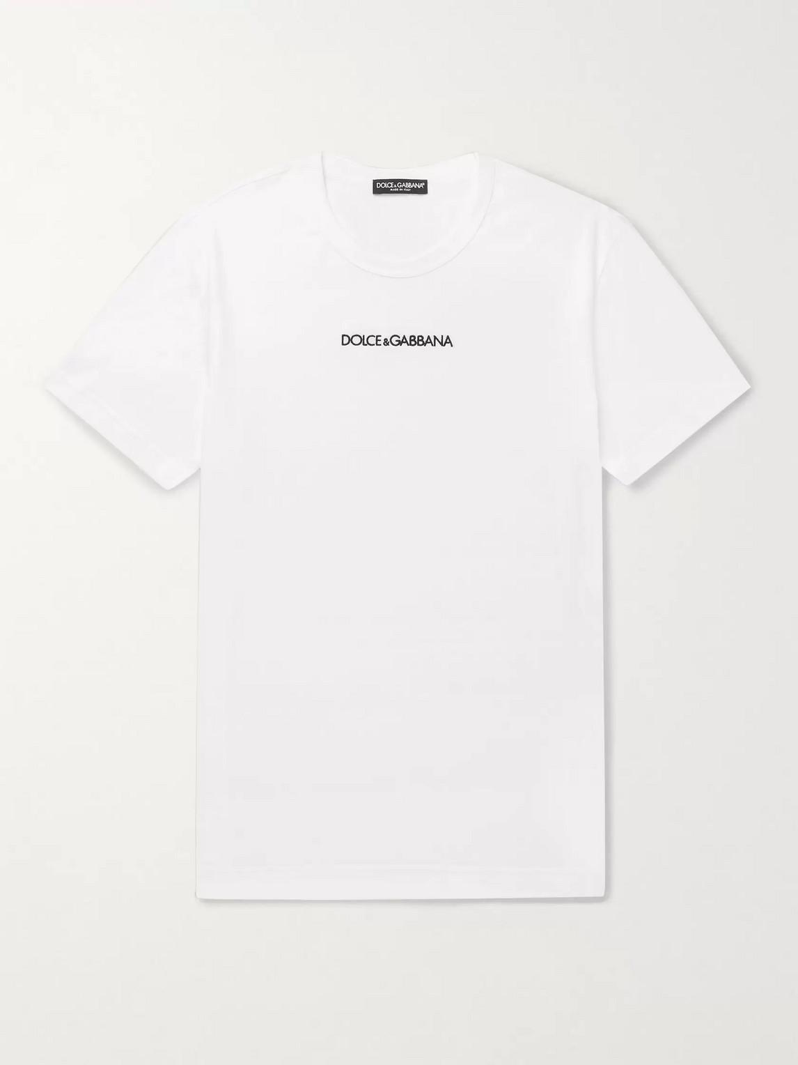 dolce amp; gabbana - slim-fit logo-embroidered cotton-jersey t-shirt - men - white