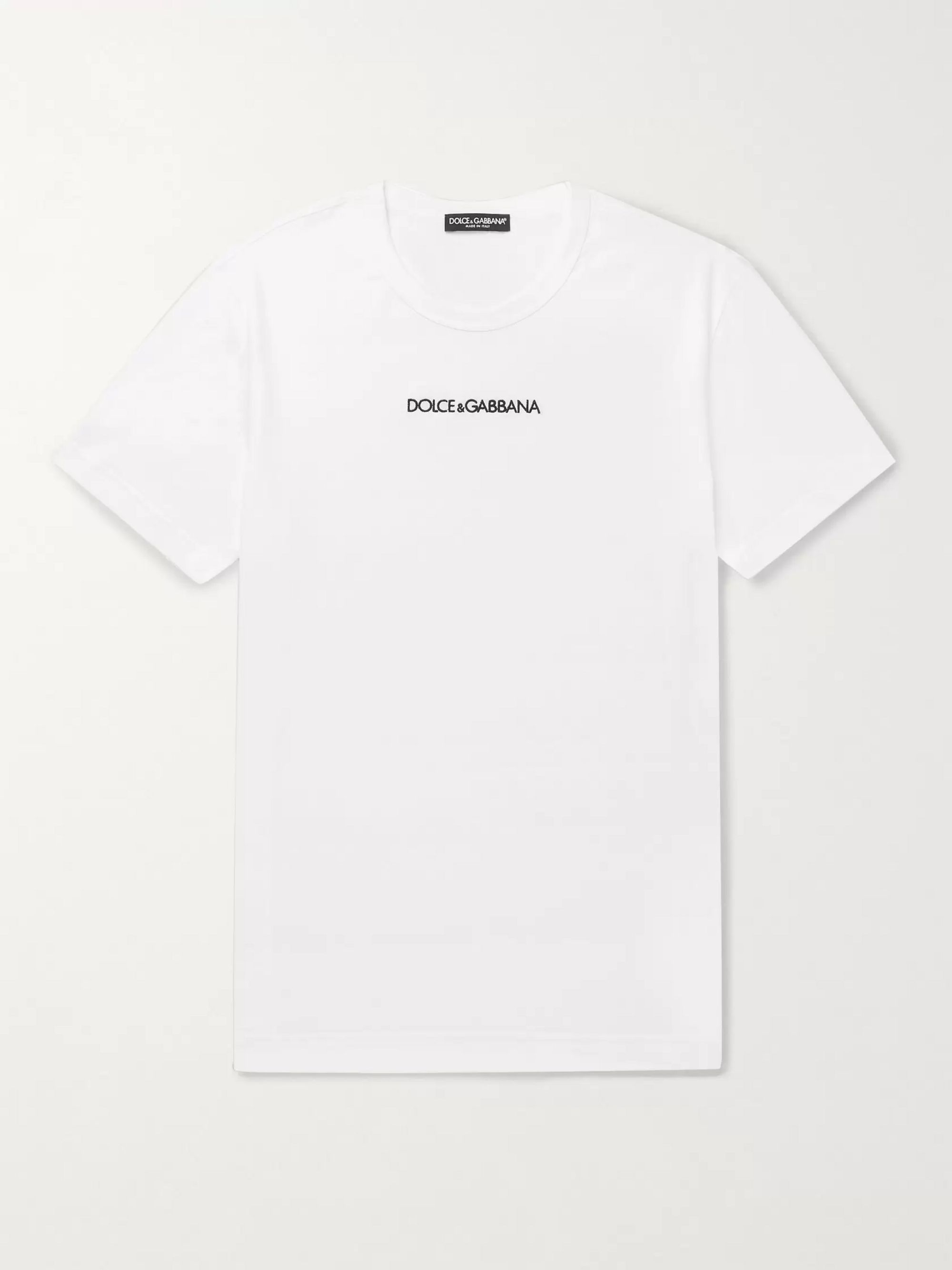 Dolce & Gabbana Slim-Fit Logo-Embroidered Cotton-Jersey T-Shirt