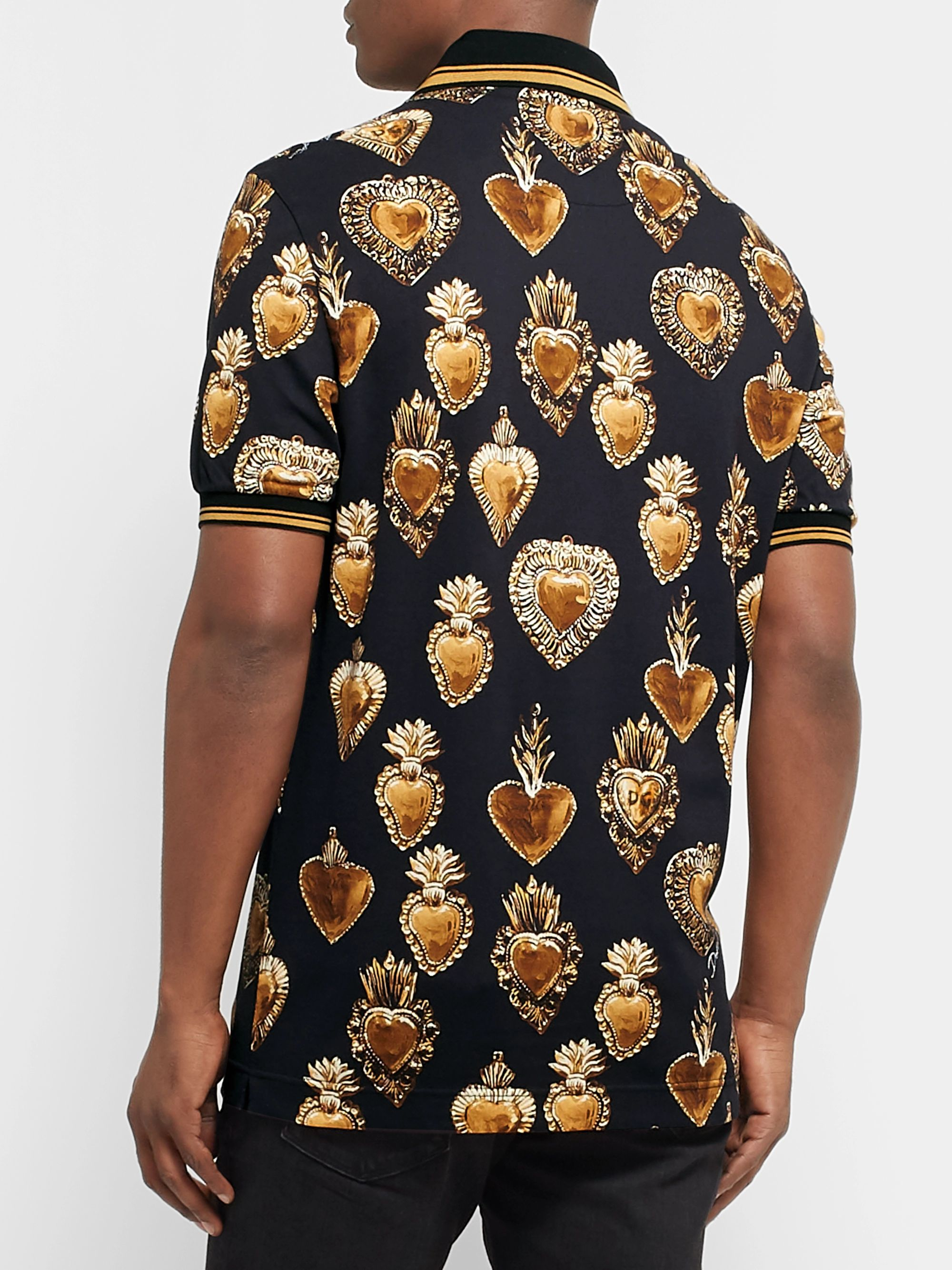 Dolce & Gabbana Printed Cotton-Piqué Polo Shirt