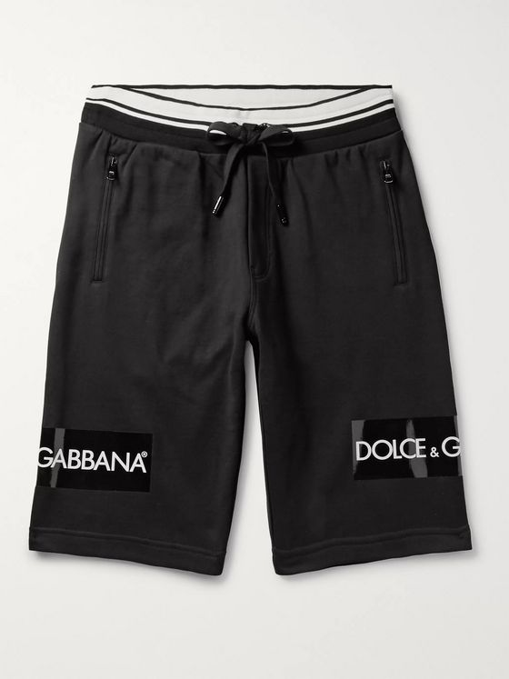 Dolce & Gabbana Slim-Fit Logo-Print Loopback Cotton-Jersey Drawstring Shorts