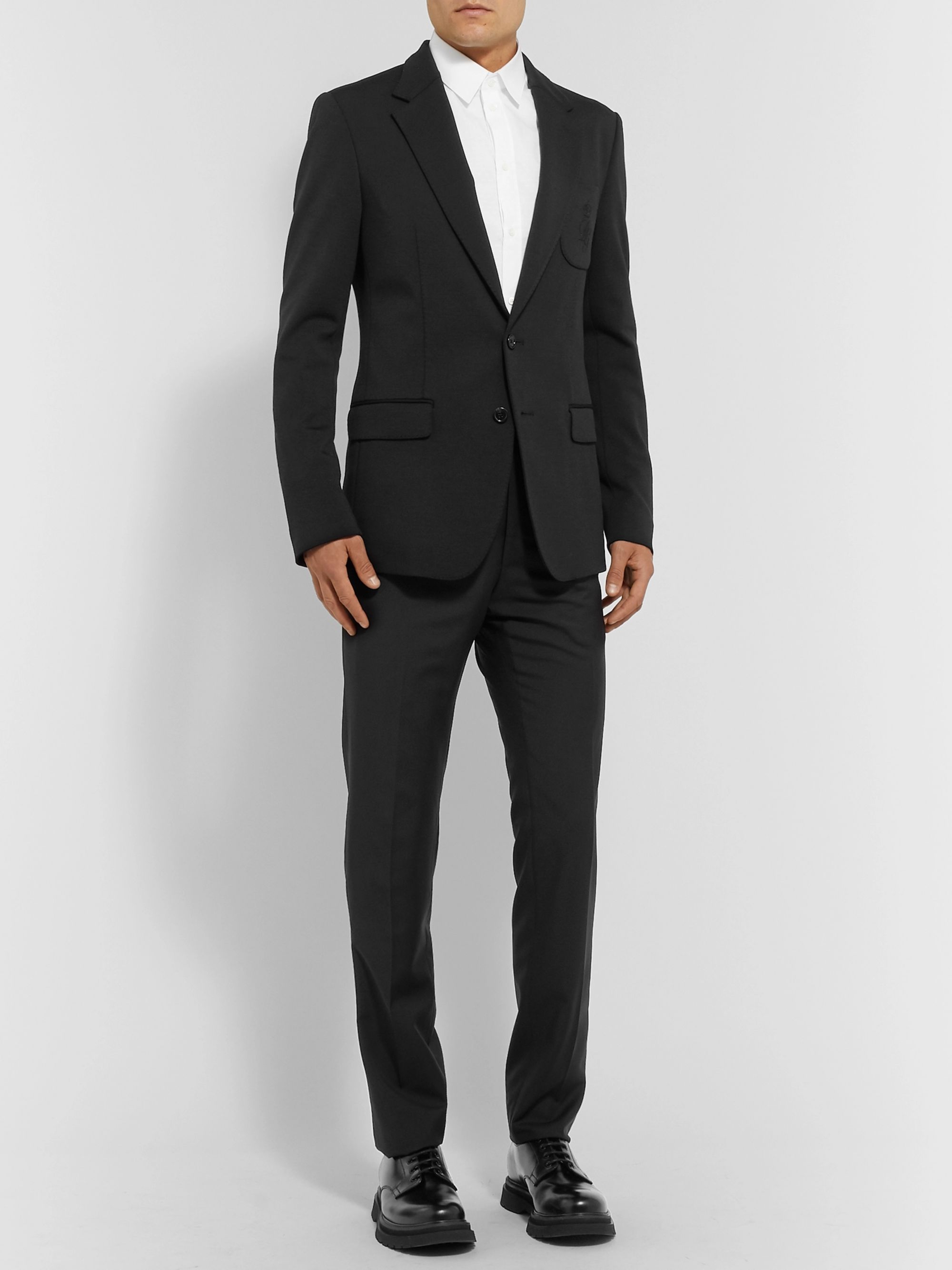 Dolce & Gabbana Black Slim-Fit Logo-Embroidered Wool-Blend Blazer
