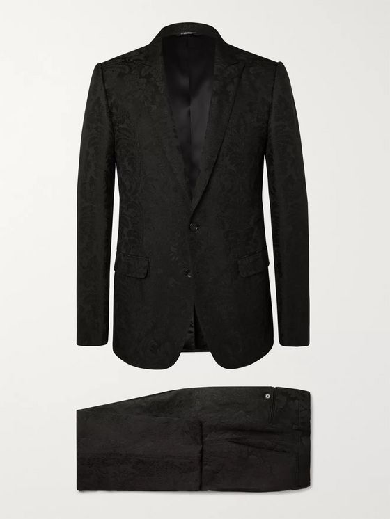Dolce & Gabbana Black Slim-Fit Jacquard Suit