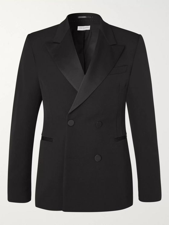Dries Van Noten Black Slim-Fit Double-Breasted Satin-Trimmed Wool-Twill Tuxedo Jacket