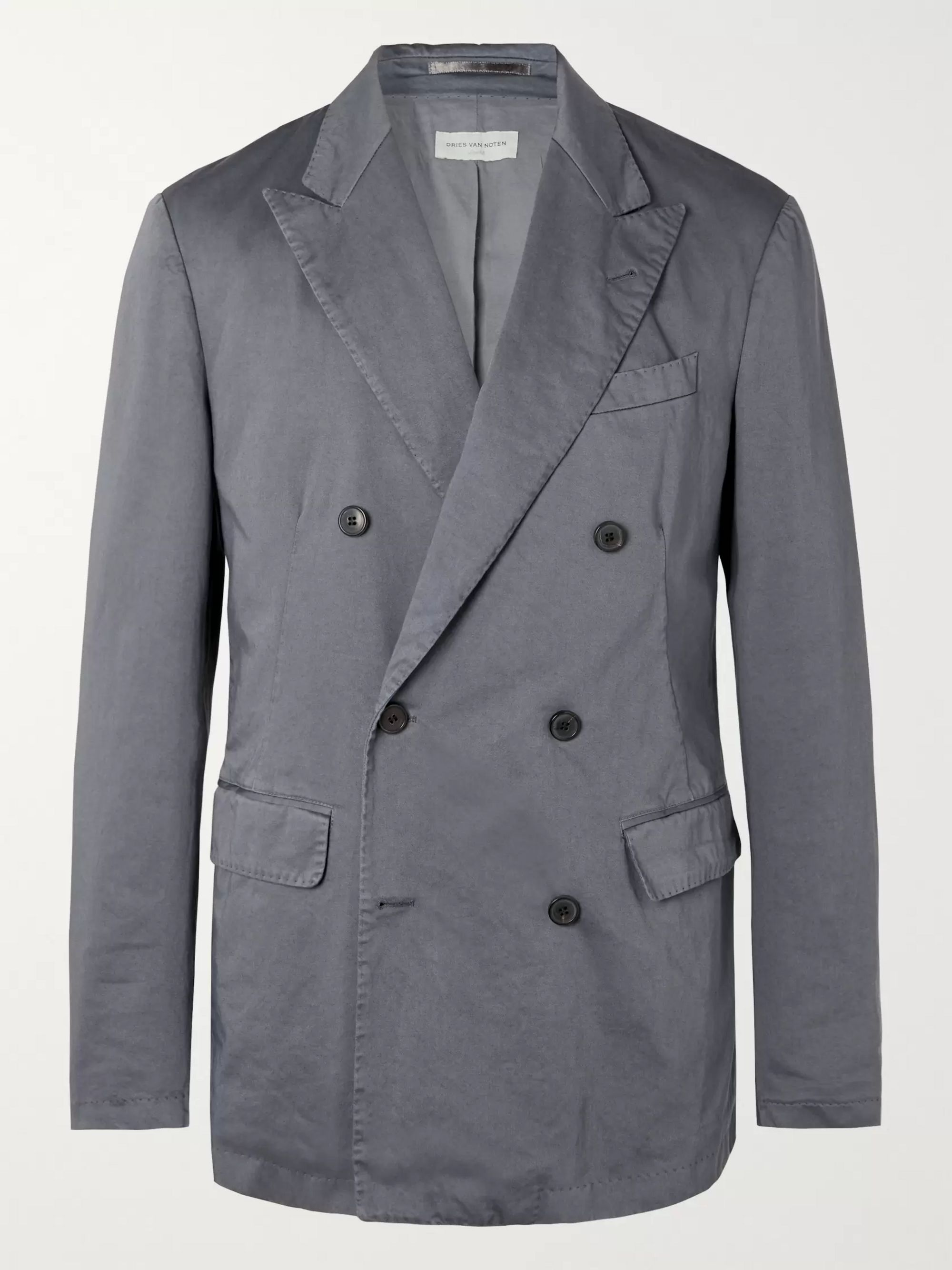 Dries Van Noten Grey Slim-Fit Double-Breasted Garment-Dyed Cotton Blazer