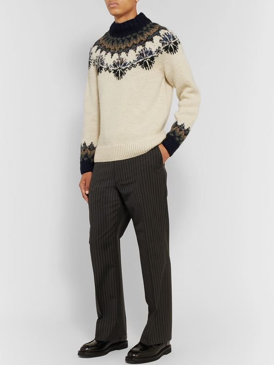 Dries Van Noten Intarsia Wool Mock-Neck Sweater
