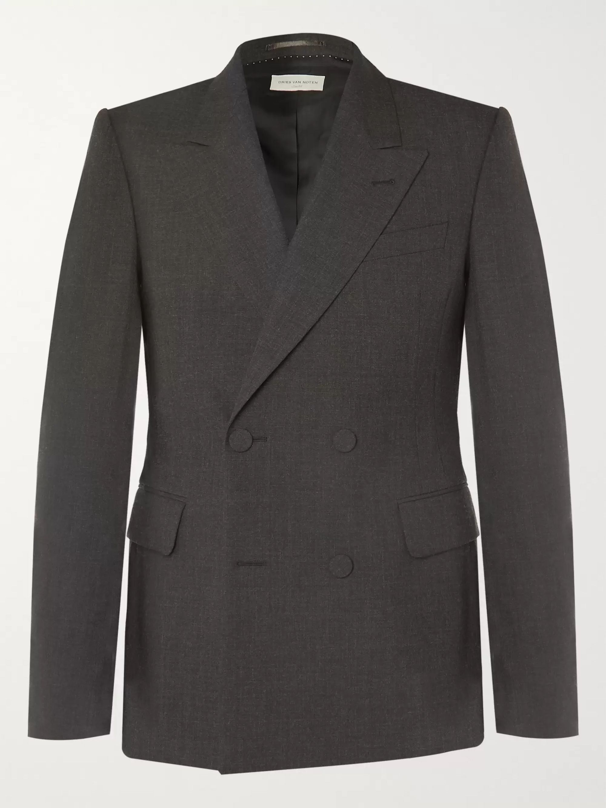Anthracite Double Breasted Wool Blazer by Dries Van Noten