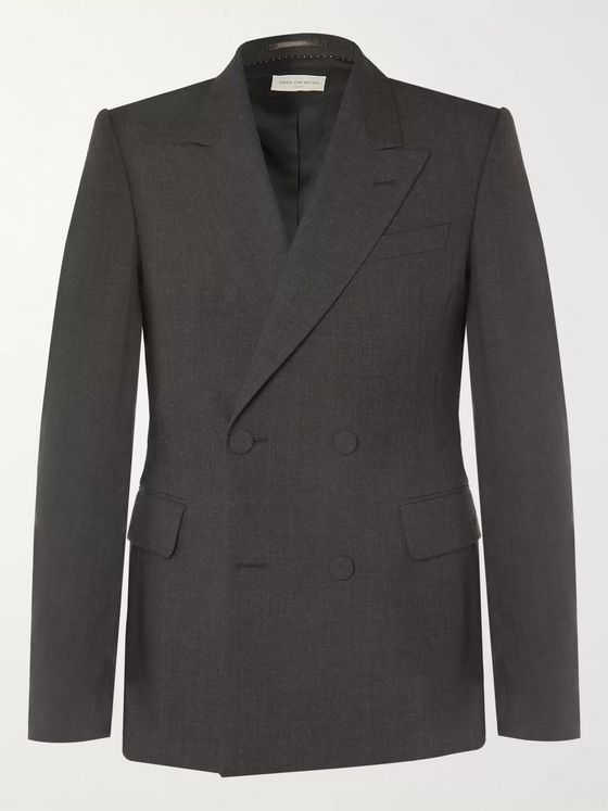 Dries Van Noten Anthracite Double-Breasted Wool Blazer