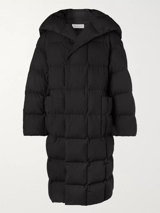 Dries Van Noten Oversized Quilted Cotton Hooded Down Coat