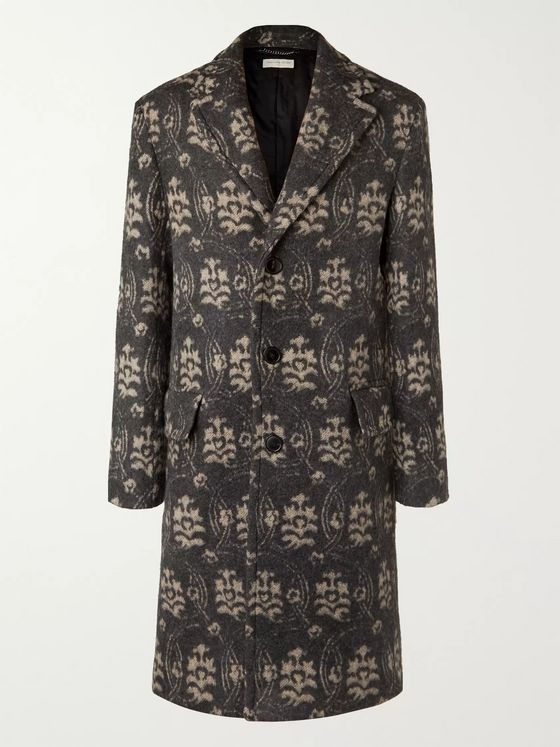 Dries Van Noten Floral-Jacquard Wool-Blend Overcoat