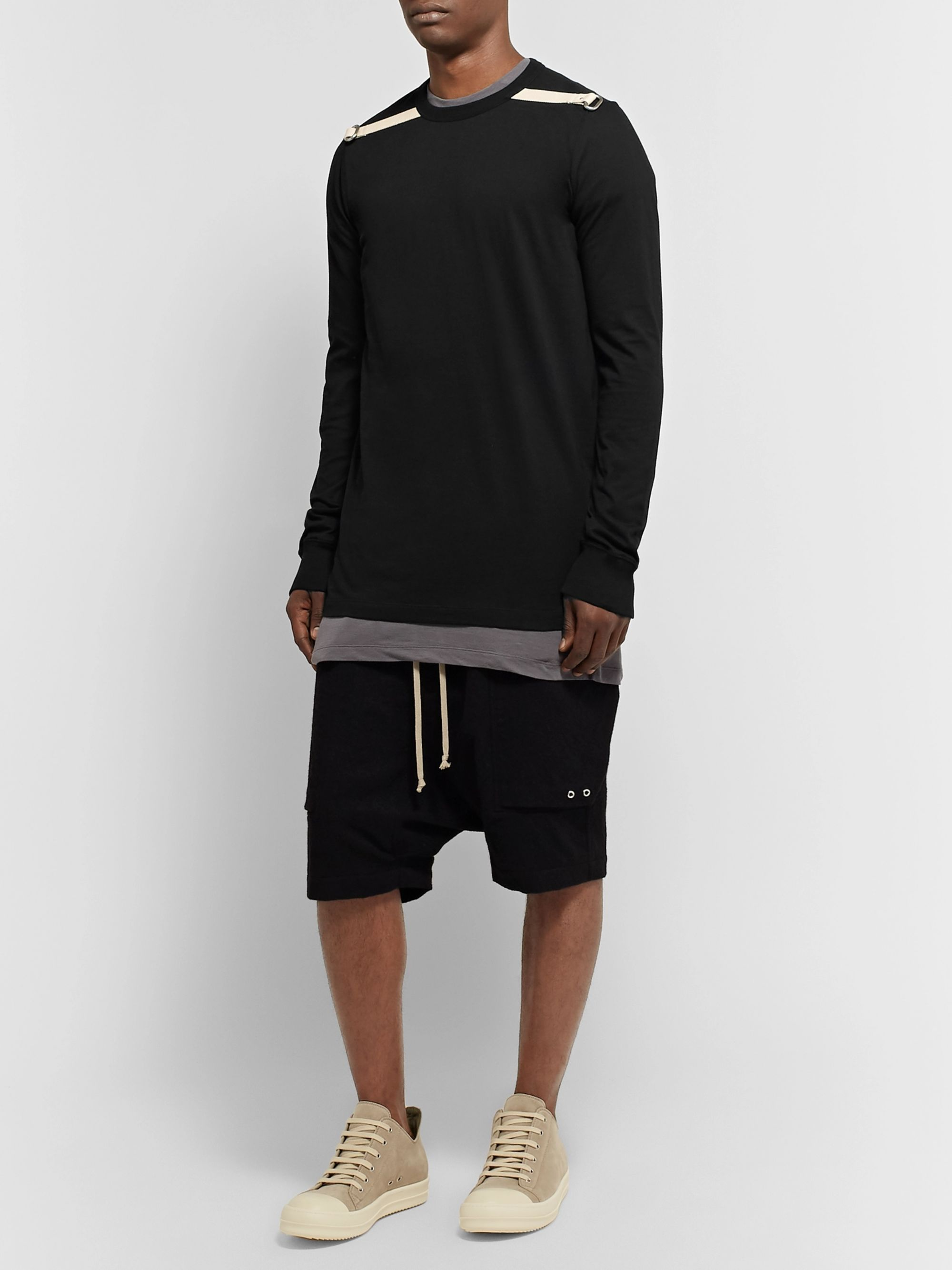 Rick Owens Canvas-Trimmed Embellished Cotton-Jersey T-Shirt