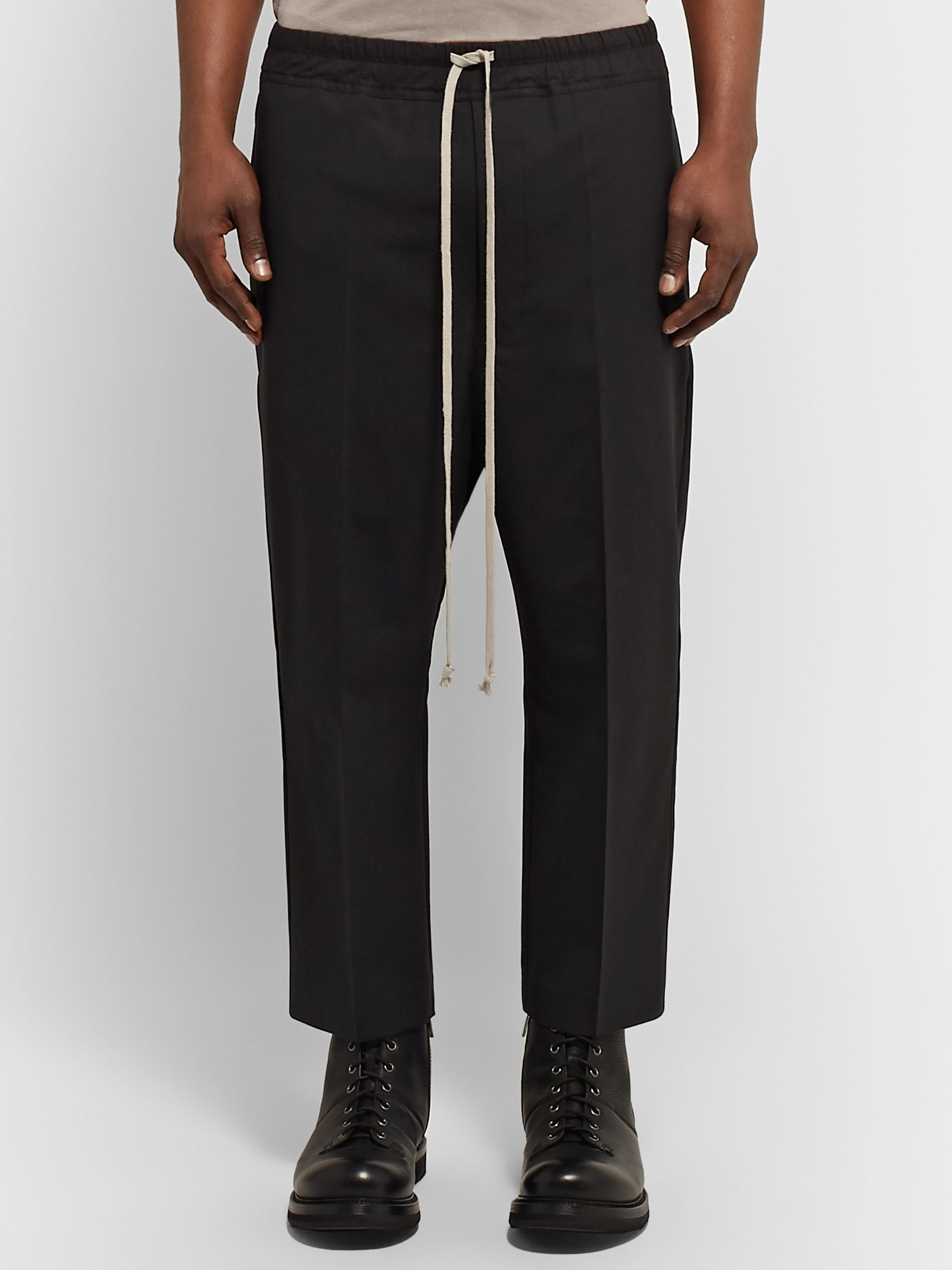 Rick Owens Tapered Cropped Stretch-Virgin Wool Drawstring Trousers