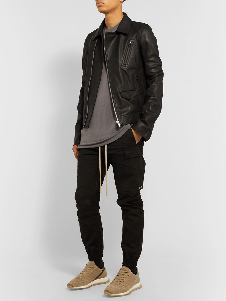 Rick Owens Slim-Fit Leather Biker Jacket