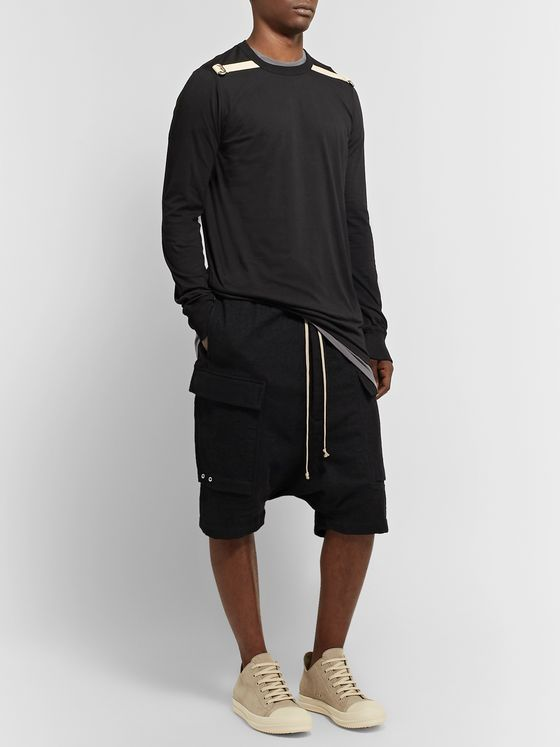 Rick Owens Pod Poplin-Trimmed Brushed Virgin Wool-Twill Cargo Shorts