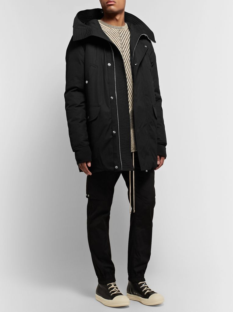 Rick Owens Cotton-Blend Canvas Hooded Down Jacket