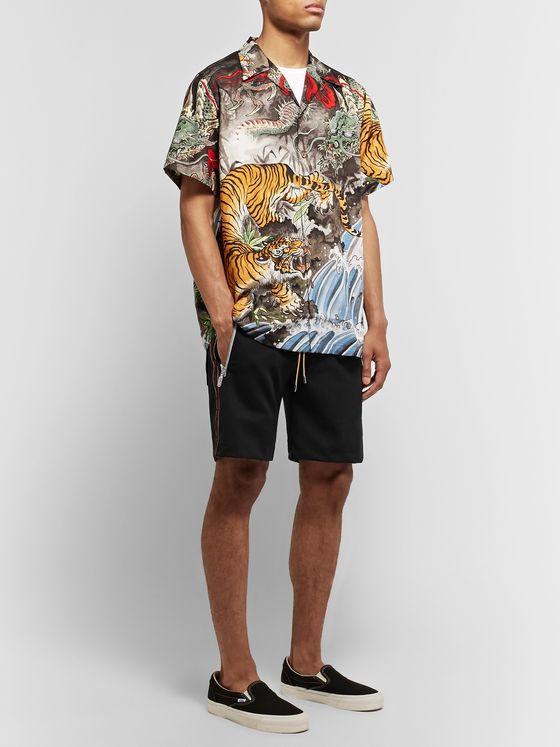Rhude Traxedo Webbing-Trimmed Stretch-Jersey Shorts