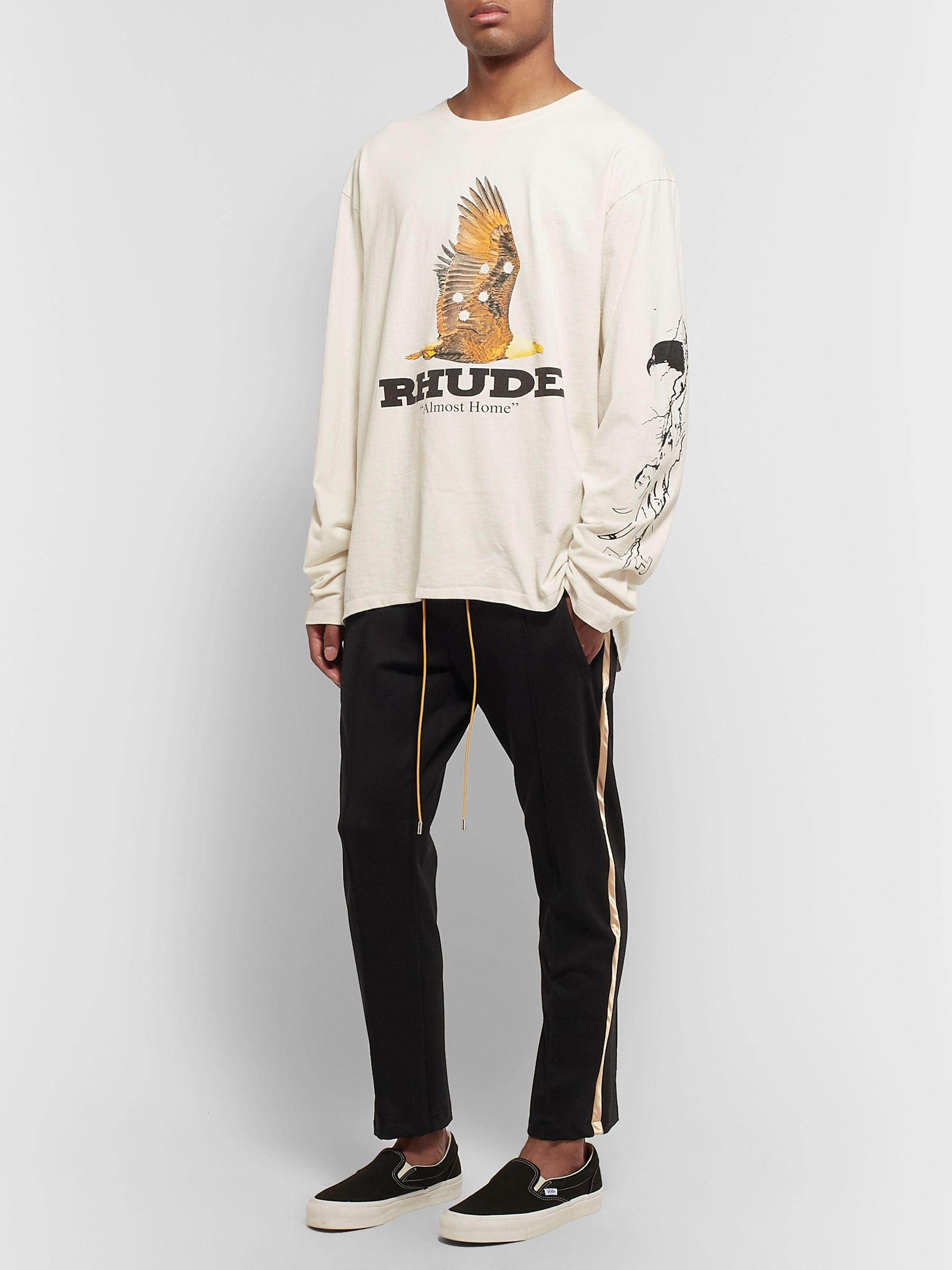 Rhude Black Traxedo Slim-Fit Tapered Satin-Trimmed Jersey Drawstring Trousers