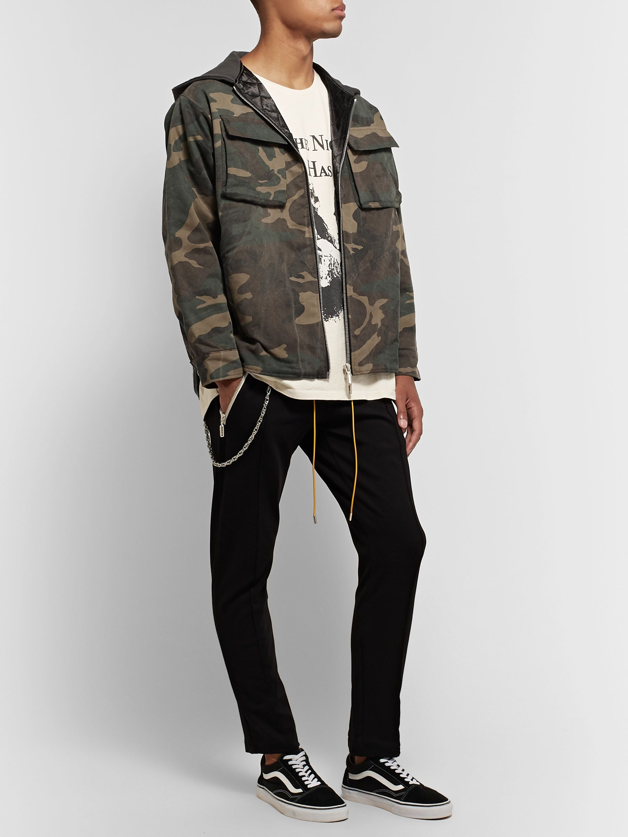 Rhude Jersey-Trimmed Camouflage-Print Cotton-Twill Hooded Jacket